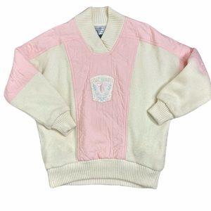 Tyrolia vintage pastel pink & cream snow ski sweater lined